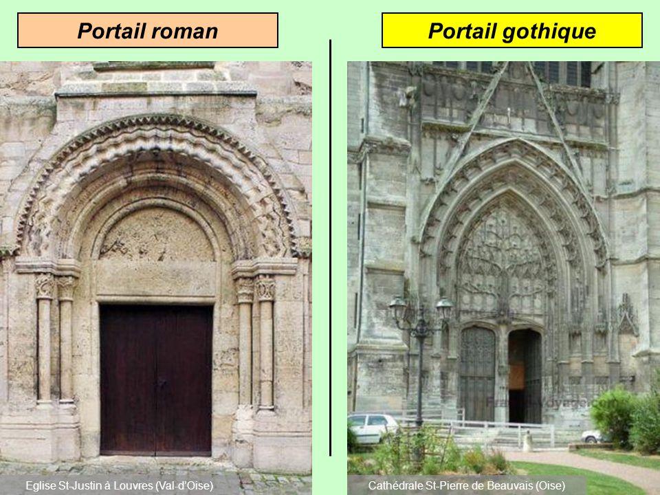 Portail gothiquePortail roman Eglise St-Justin à Louvres (Val-dOise)