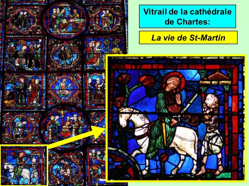 Vitrail de la cathédrale de Chartes: La vie de St-Martin