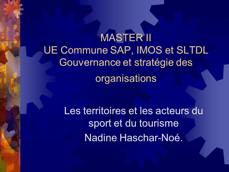 MASTER II UE Commune SAP, IMOS et SLTDL Gouvernance et stratégie des organisations Les territoires et les acteurs du sport et du tourisme Nadine Haschar-Noé.