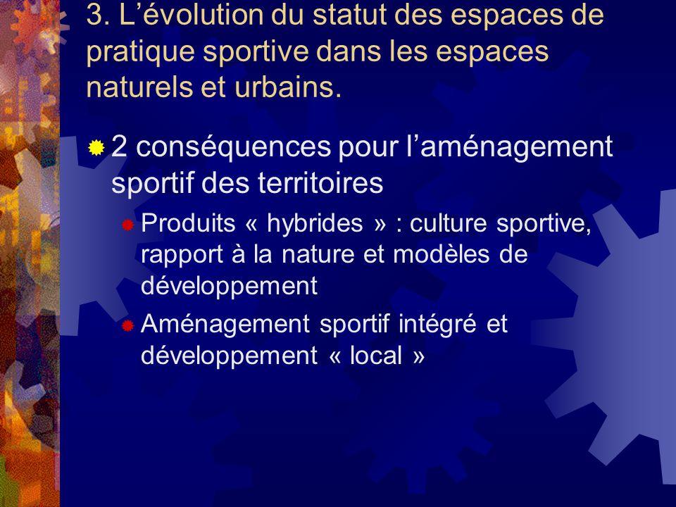 3. Lévolution du statut des espaces de pratique sportive dans les espaces naturels et urbains. 2 conséquences pour laménagement sportif des territoire