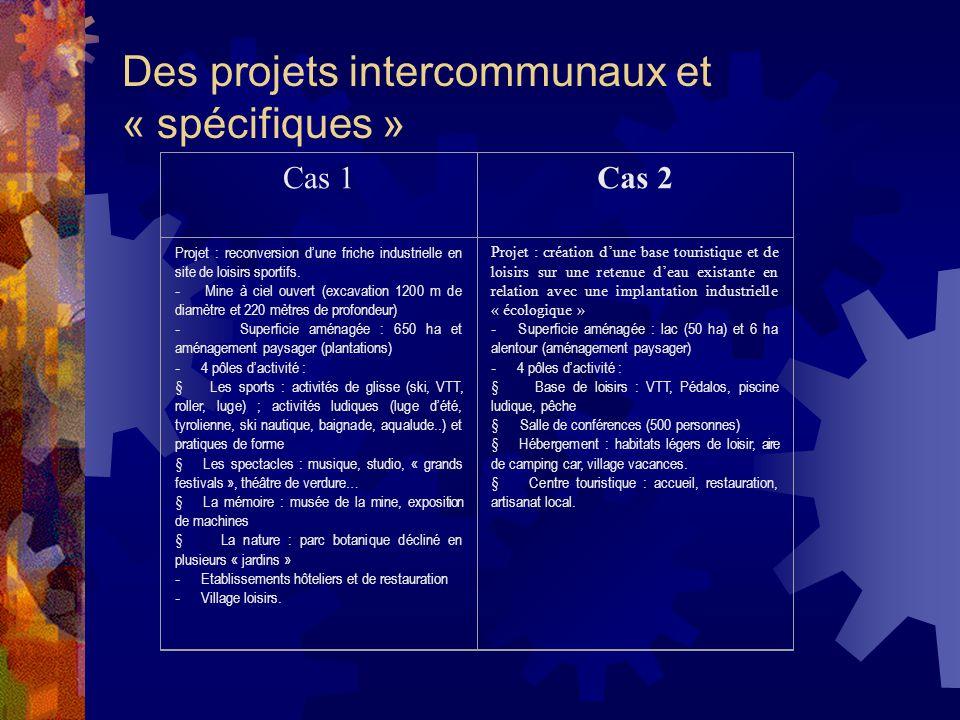 Des projets intercommunaux et « spécifiques » Cas 1Cas 2 Projet : reconversion dune friche industrielle en site de loisirs sportifs.