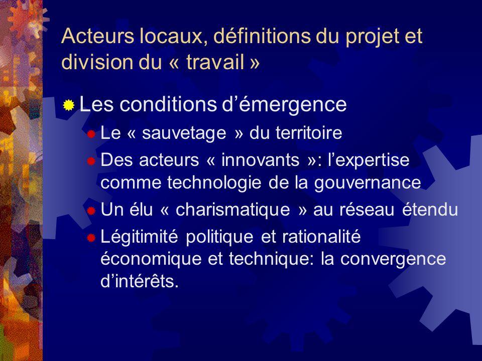 Acteurs locaux, définitions du projet et division du « travail » Les conditions démergence Le « sauvetage » du territoire Des acteurs « innovants »: l
