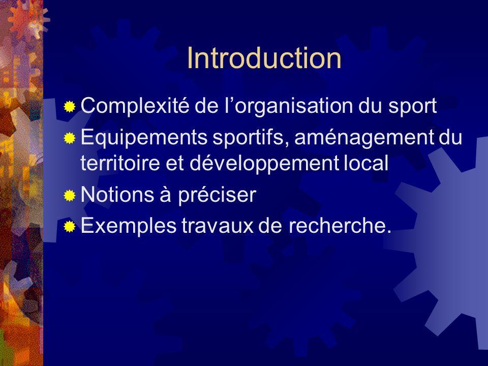 Introduction Complexité de lorganisation du sport Equipements sportifs, aménagement du territoire et développement local Notions à préciser Exemples travaux de recherche.