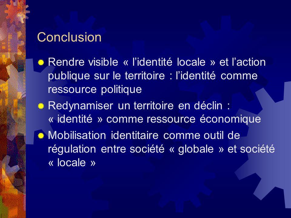 Conclusion Rendre visible « lidentité locale » et laction publique sur le territoire : lidentité comme ressource politique Redynamiser un territoire e