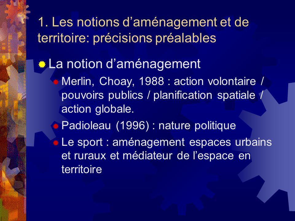 1. Les notions daménagement et de territoire: précisions préalables La notion daménagement Merlin, Choay, 1988 : action volontaire / pouvoirs publics