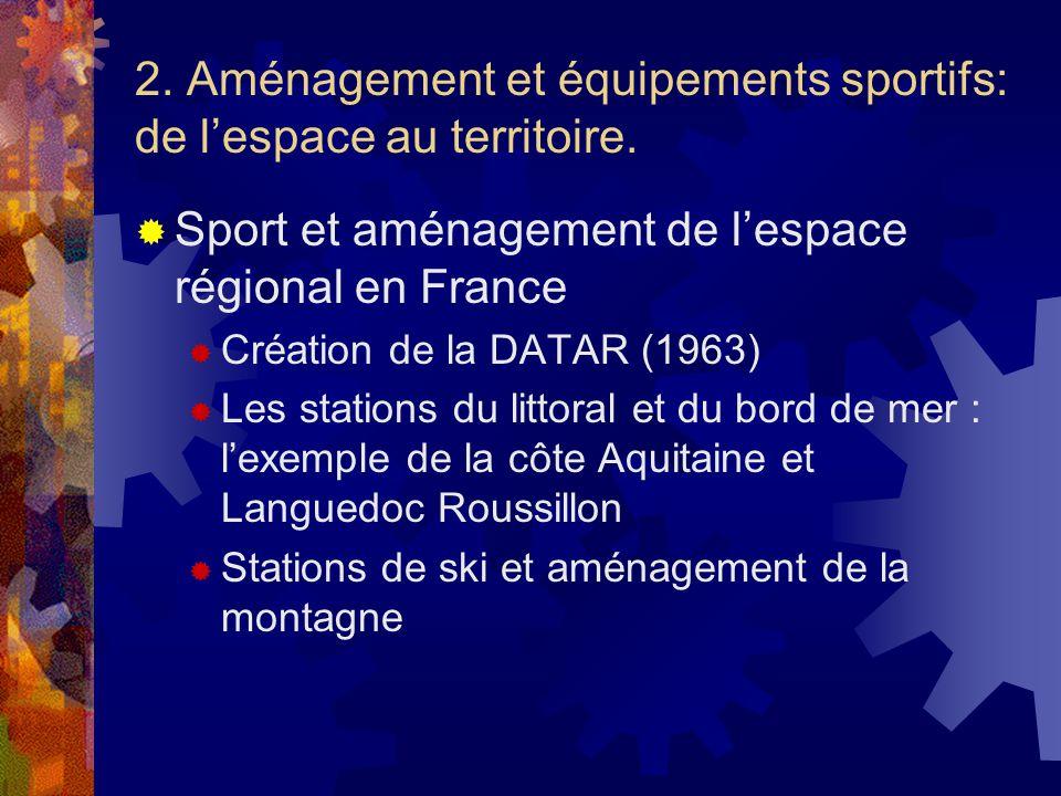 2. Aménagement et équipements sportifs: de lespace au territoire. Sport et aménagement de lespace régional en France Création de la DATAR (1963) Les s