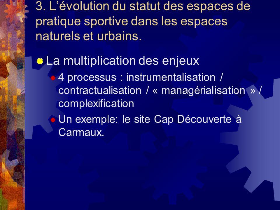 3. Lévolution du statut des espaces de pratique sportive dans les espaces naturels et urbains. La multiplication des enjeux 4 processus : instrumental