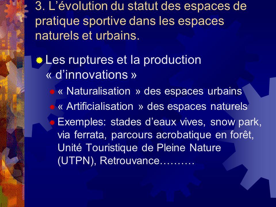 3. Lévolution du statut des espaces de pratique sportive dans les espaces naturels et urbains. Les ruptures et la production « dinnovations » « Natura