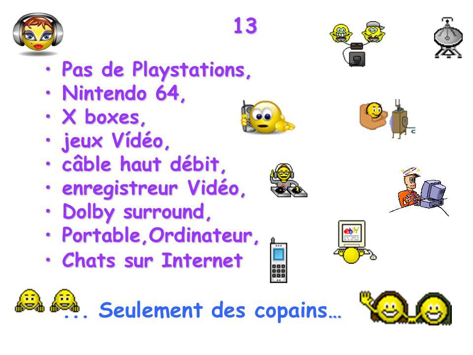 13 Pas de Playstations,Pas de Playstations, Nintendo 64,Nintendo 64, X boxes,X boxes, jeux Vídéo,jeux Vídéo, câble haut débit,câble haut débit, enregi