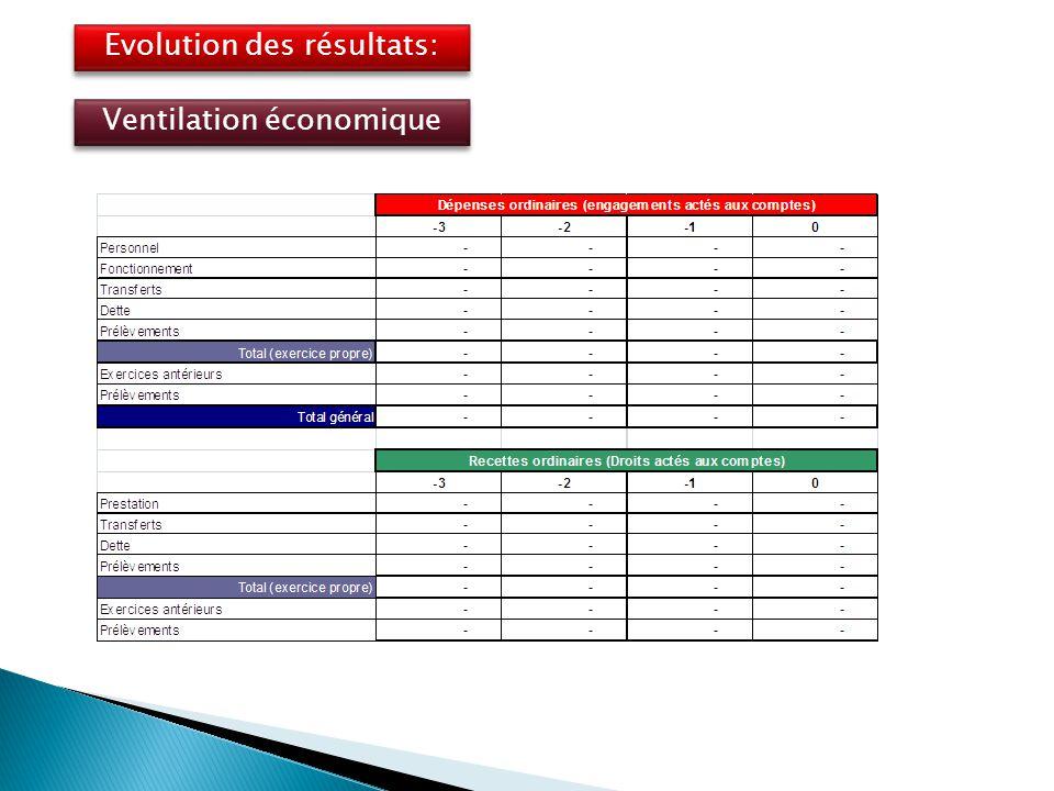 Evolution des résultats: Ventilation économique