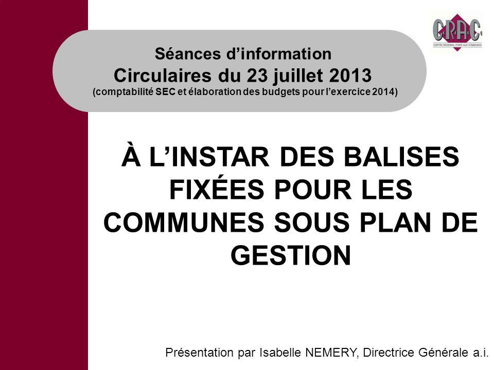 À LINSTAR DES BALISES FIXÉES POUR LES COMMUNES SOUS PLAN DE GESTION Présentation par Isabelle NEMERY, Directrice Générale a.i. Séances dinformation Ci
