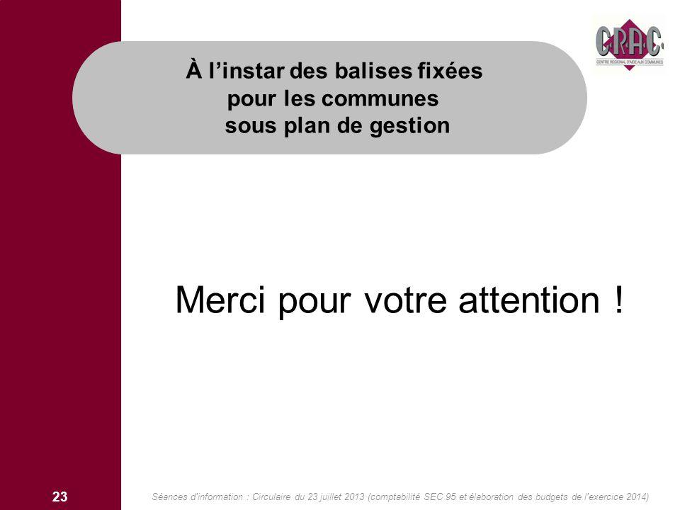 Merci pour votre attention ! À linstar des balises fixées pour les communes sous plan de gestion 23 Séances d'information : Circulaire du 23 juillet 2