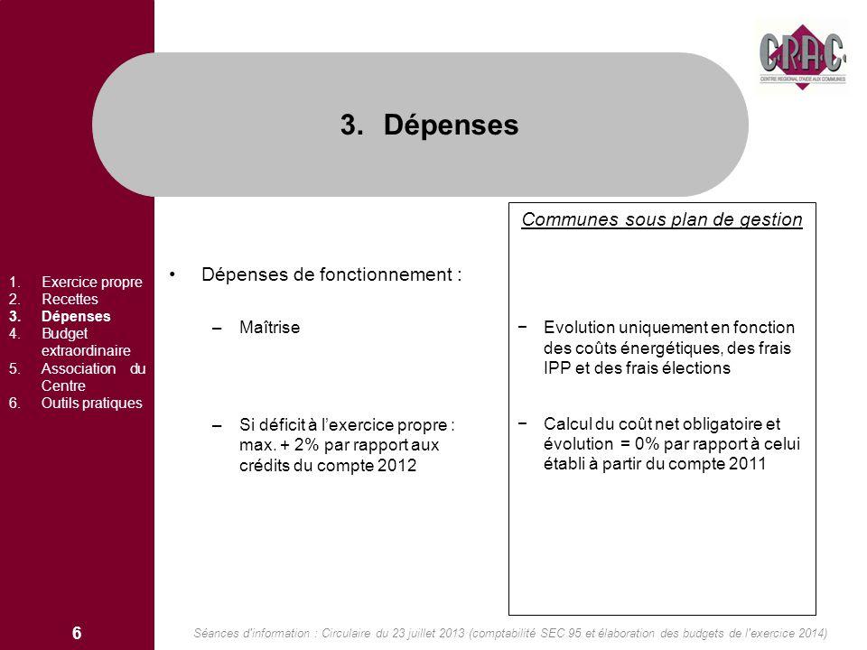 Dépenses de fonctionnement : –Maîtrise –Si déficit à lexercice propre : max. + 2% par rapport aux crédits du compte 2012 Communes sous plan de gestion