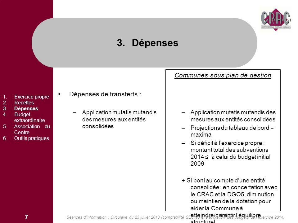 Dépenses de transferts : –Application mutatis mutandis des mesures aux entités consolidées Communes sous plan de gestion –Application mutatis mutandis