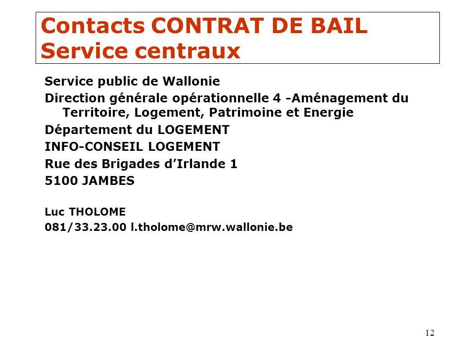 12 Contacts CONTRAT DE BAIL Service centraux Service public de Wallonie Direction générale opérationnelle 4 -Aménagement du Territoire, Logement, Patr