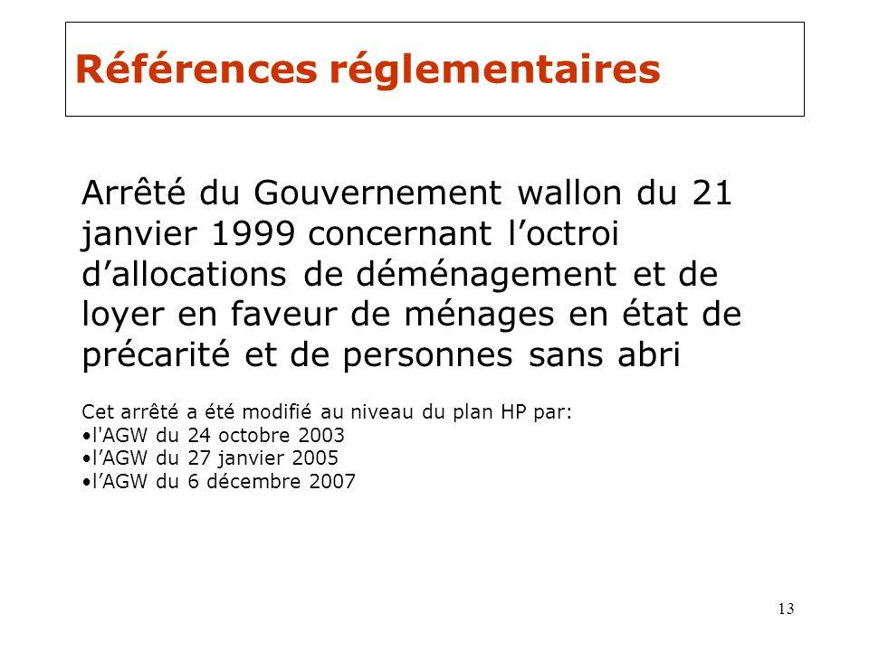 13 Références réglementaires Arrêté du Gouvernement wallon du 21 janvier 1999 concernant loctroi dallocations de déménagement et de loyer en faveur de