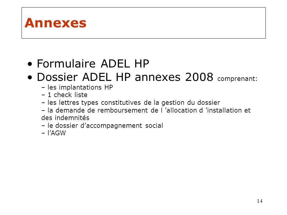 14 Annexes Formulaire ADEL HP Dossier ADEL HP annexes 2008 comprenant: – les implantations HP – 1 check liste – les lettres types constitutives de la