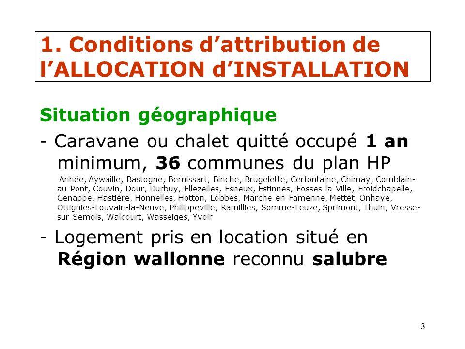 3 1. Conditions dattribution de lALLOCATION dINSTALLATION Situation géographique - Caravane ou chalet quitté occupé 1 an minimum, 36 communes du plan