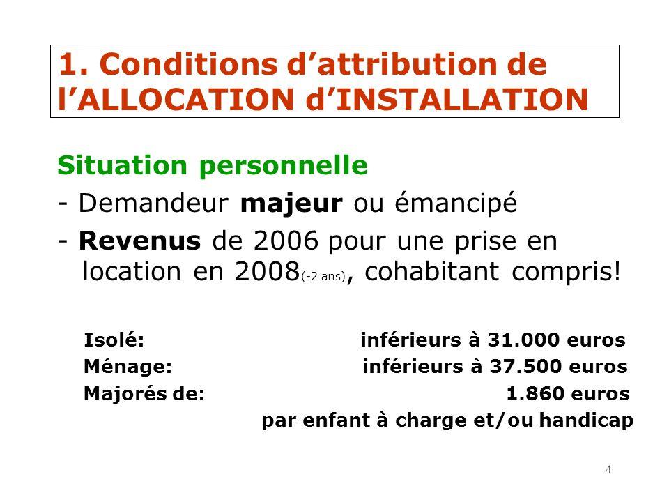 4 1. Conditions dattribution de lALLOCATION dINSTALLATION Situation personnelle - Demandeur majeur ou émancipé - Revenus de 2006 pour une prise en loc