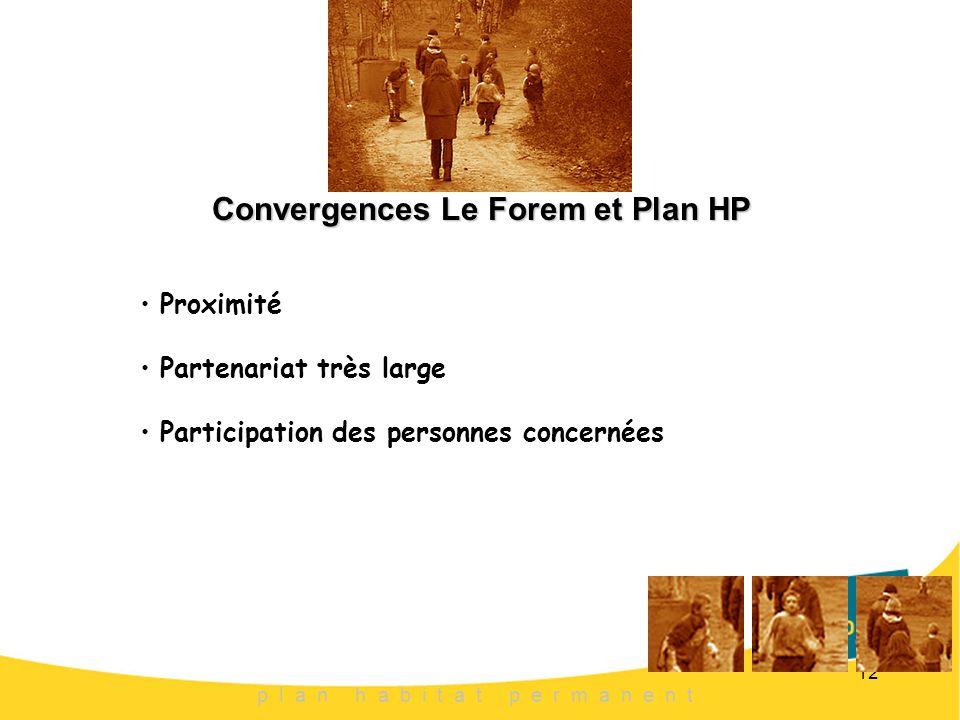 12 Convergences Le Forem et Plan HP p l a n h a b i t a t p e r m a n e n t Proximité Partenariat très large Participation des personnes concernées