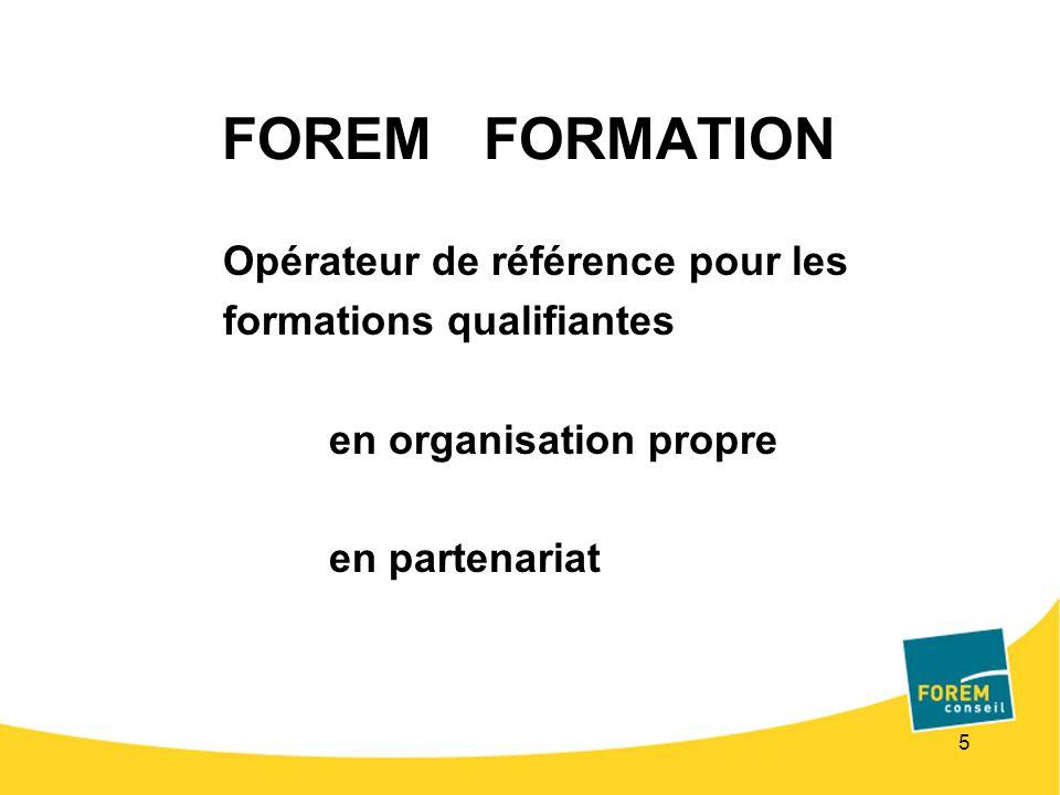 5 FOREM FORMATION Opérateur de référence pour les formations qualifiantes en organisation propre en partenariat