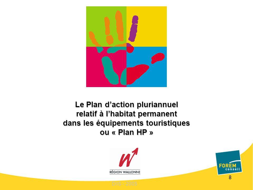 8 Le Plan daction pluriannuel relatif à lhabitat permanent dans les équipements touristiques ou « Plan HP » DIIS - 2005