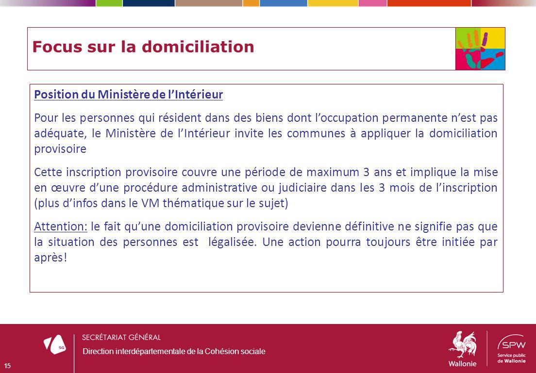 Focus sur la domiciliation Position du Ministère de lIntérieur Pour les personnes qui résident dans des biens dont loccupation permanente nest pas adé