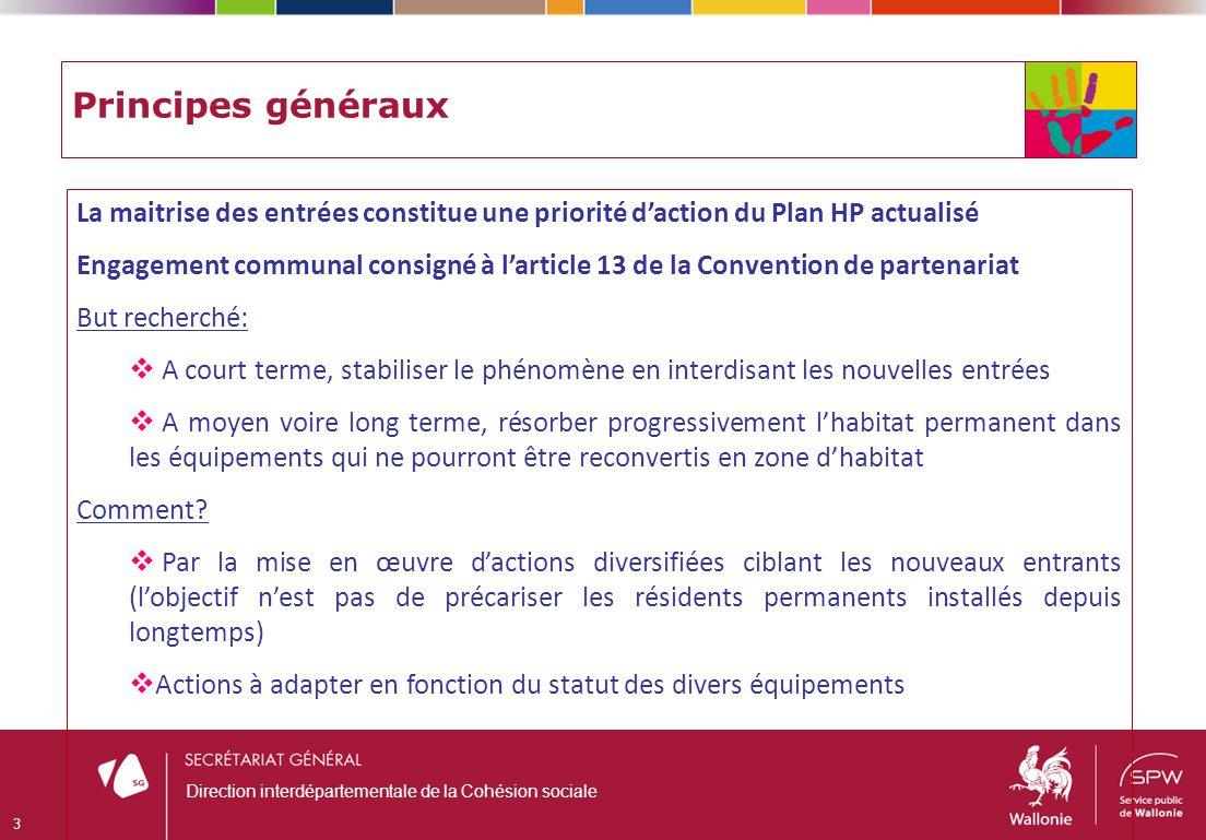 Principes généraux La maitrise des entrées constitue une priorité daction du Plan HP actualisé Engagement communal consigné à larticle 13 de la Conven