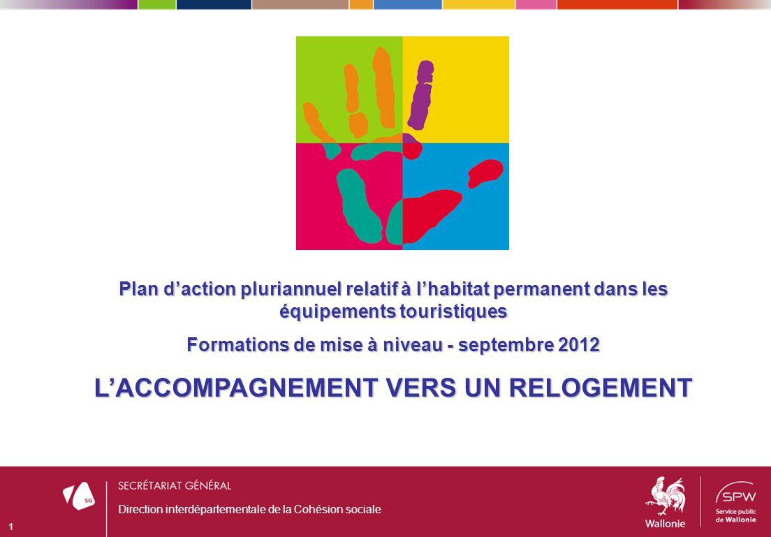 Direction interdépartementale de la Cohésion sociale 1 Plan daction pluriannuel relatif à lhabitat permanent dans les équipements touristiques Formations de mise à niveau - septembre 2012 LACCOMPAGNEMENT VERS UN RELOGEMENT