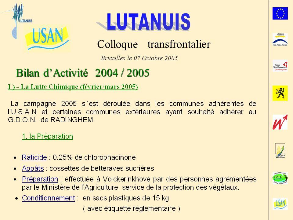 Bilan dActivité 2004 / 2005 Bruxelles le 07 Octobre 2005 Colloque transfrontalier