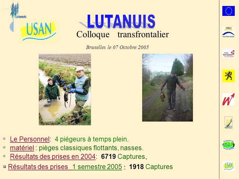 Bruxelles le 07 Octobre 2005 Colloque transfrontalier : Le Personnel: 4 piégeurs à temps plein.