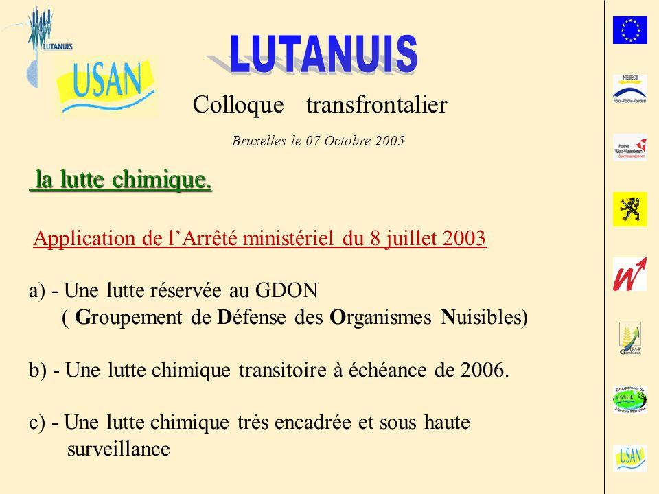 Colloque transfrontalier Bruxelles le 07 Octobre 2005 la lutte chimique.