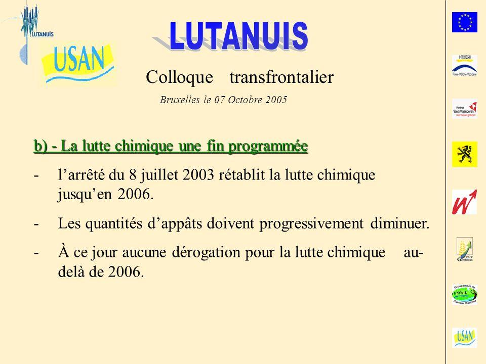 Colloque transfrontalier Bruxelles le 07 Octobre 2005 b) - La lutte chimique une fin programmée -larrêté du 8 juillet 2003 rétablit la lutte chimique jusquen 2006.