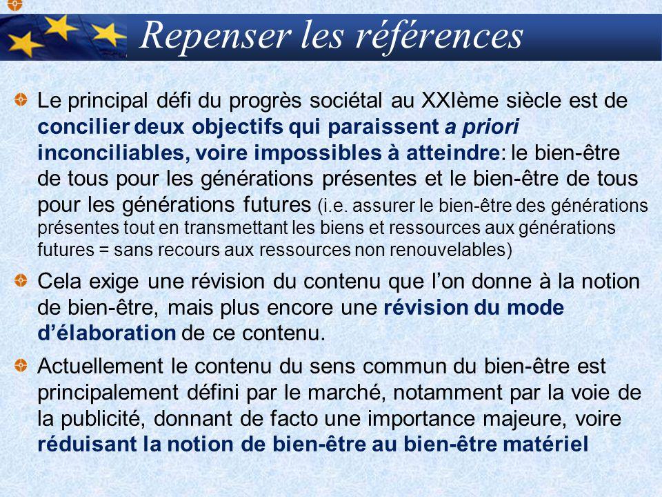 Repenser les références Le principal défi du progrès sociétal au XXIème siècle est de concilier deux objectifs qui paraissent a priori inconciliables,