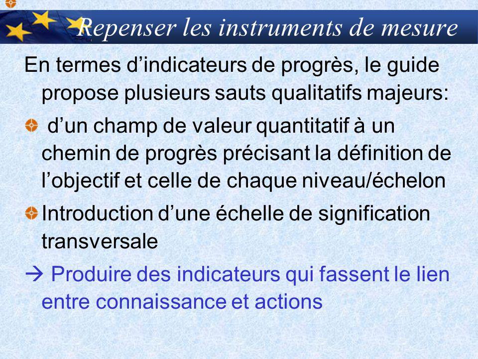 Repenser les instruments de mesure En termes dindicateurs de progrès, le guide propose plusieurs sauts qualitatifs majeurs: dun champ de valeur quanti