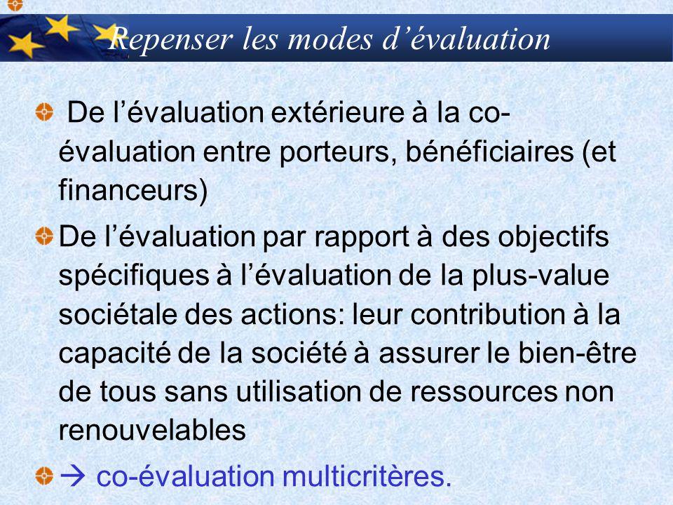 Repenser les modes dévaluation De lévaluation extérieure à la co- évaluation entre porteurs, bénéficiaires (et financeurs) De lévaluation par rapport