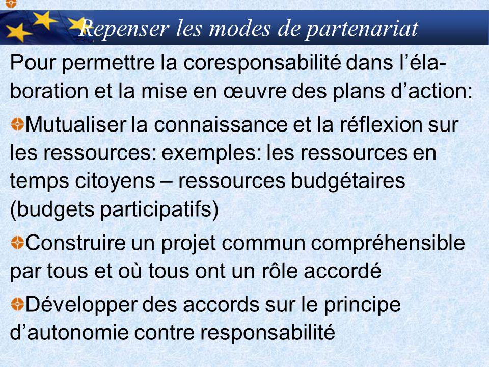 Repenser les modes de partenariat Pour permettre la coresponsabilité dans léla- boration et la mise en œuvre des plans daction: Mutualiser la connaiss