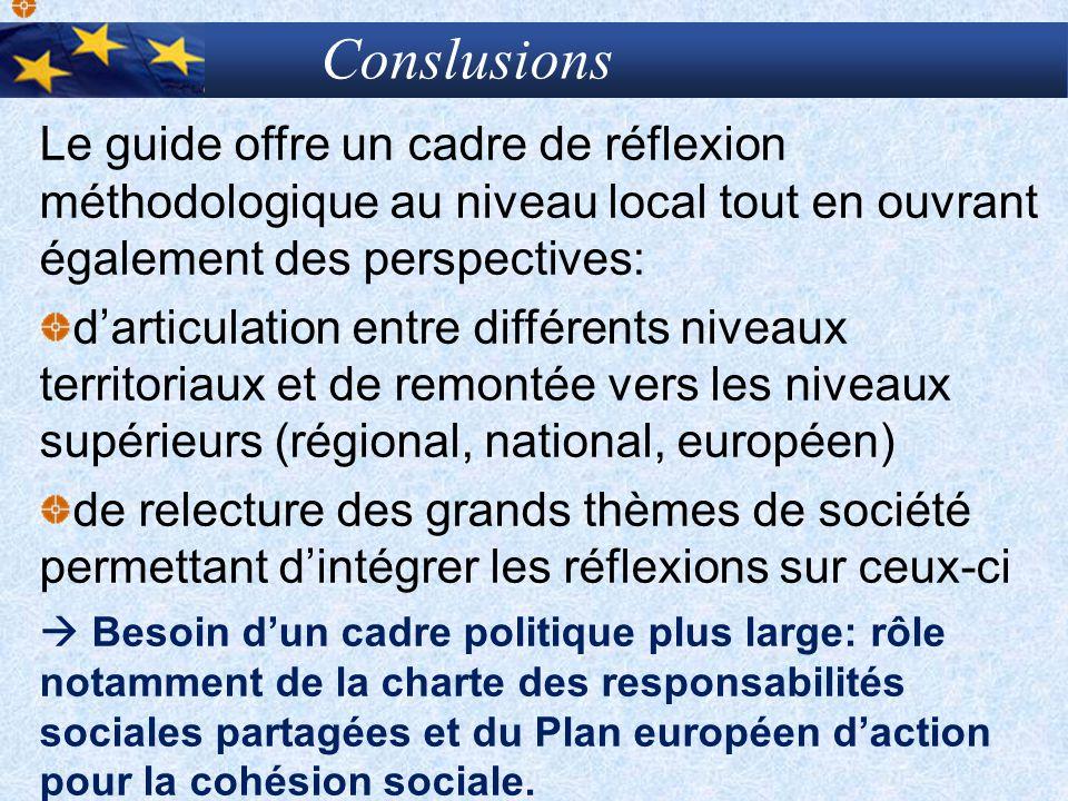 Le guide offre un cadre de réflexion méthodologique au niveau local tout en ouvrant également des perspectives: darticulation entre différents niveaux