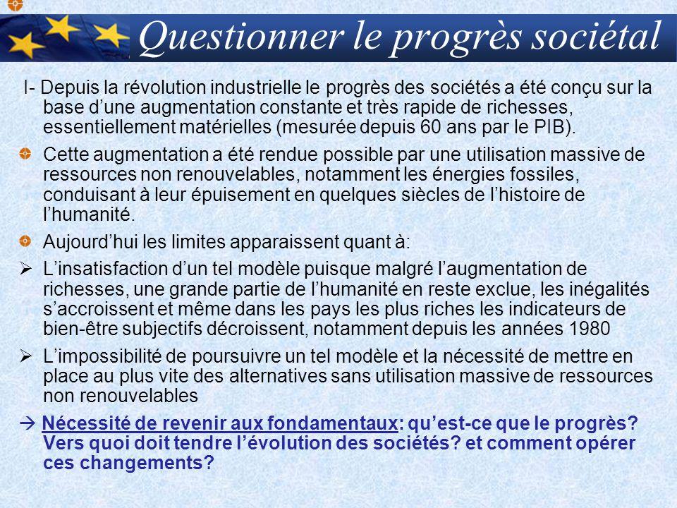 Questionner le progrès sociétal I- Depuis la révolution industrielle le progrès des sociétés a été conçu sur la base dune augmentation constante et tr