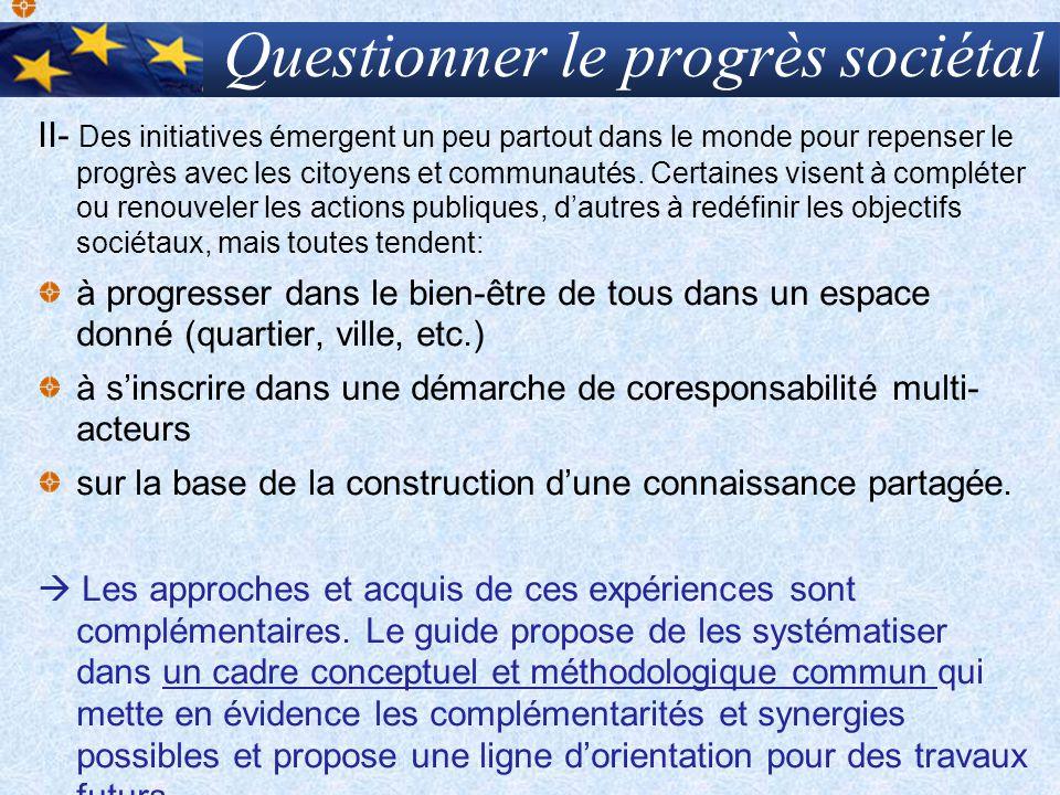 Quels processus et cyles de progrès Les 8 phases dun processus élaboratif avec les citoyens/communautés 2- Définir lobjectif de progrès (indicateurs) 1- constituer le groupe de coordination 3- Evaluer/ mesurer 5- Décider/ sengager 4- Projeter / Comparer