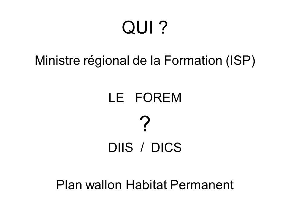 QUI ? Ministre régional de la Formation (ISP) LE FOREM ? DIIS / DICS Plan wallon Habitat Permanent