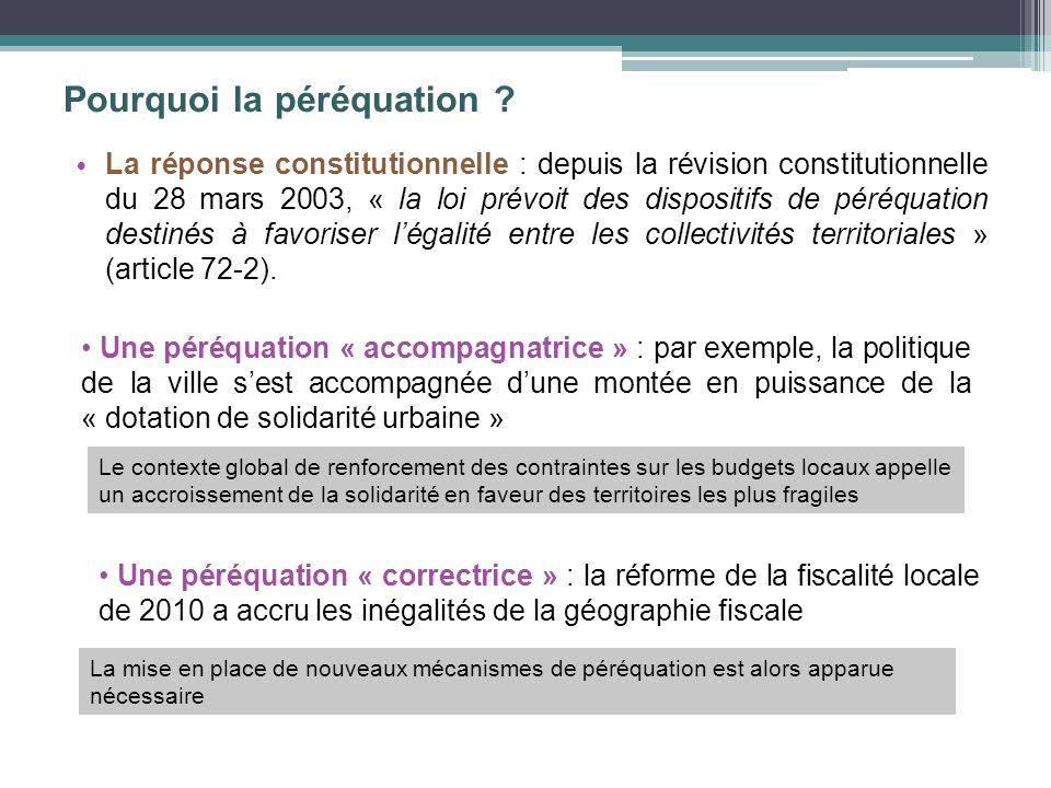 Pourquoi la péréquation ? La réponse constitutionnelle : depuis la révision constitutionnelle du 28 mars 2003, « la loi prévoit des dispositifs de pér