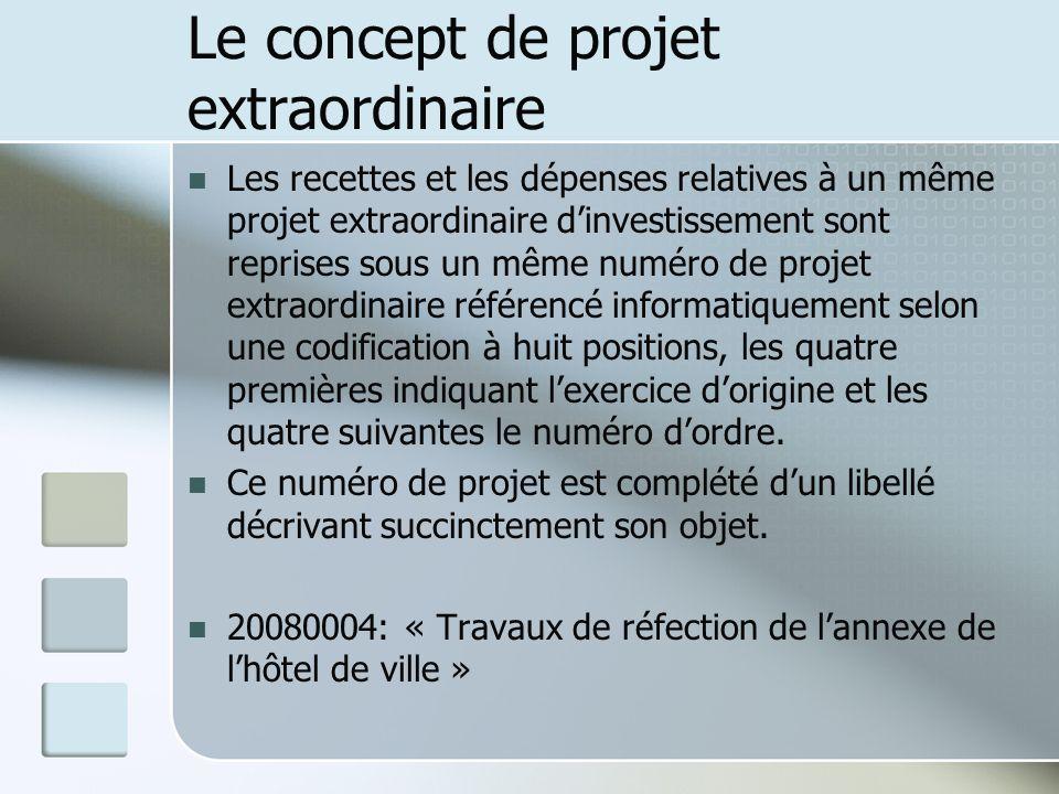 Le concept de projet extraordinaire Les recettes et les dépenses relatives à un même projet extraordinaire dinvestissement sont reprises sous un même
