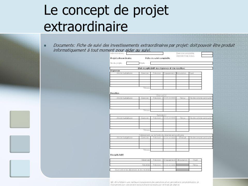 Le concept de projet extraordinaire Documents: Fiche de suivi des investissements extraordinaires par projet: doit pouvoir être produit informatiqueme