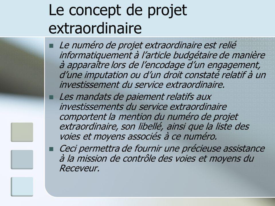 Le concept de projet extraordinaire Le numéro de projet extraordinaire est relié informatiquement à larticle budgétaire de manière à apparaître lors d