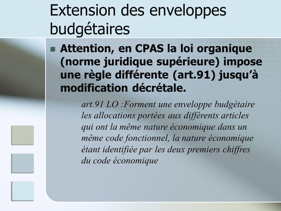 Extension des enveloppes budgétaires Attention, en CPAS la loi organique (norme juridique supérieure) impose une règle différente (art.91) jusquà modi