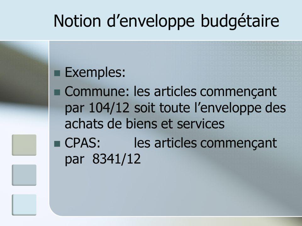 Notion denveloppe budgétaire Exemples: Commune: les articles commençant par 104/12 soit toute lenveloppe des achats de biens et services CPAS: les art