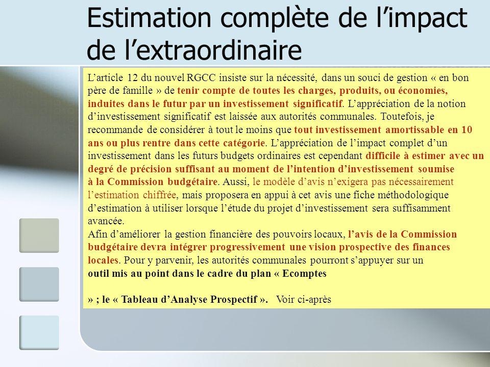 Estimation complète de limpact de lextraordinaire Larticle 12 du nouvel RGCC insiste sur la nécessité, dans un souci de gestion « en bon père de famil