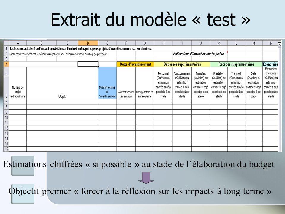 Extrait du modèle « test » Estimations chiffrées « si possible » au stade de lélaboration du budget Objectif premier « forcer à la réflexion sur les i