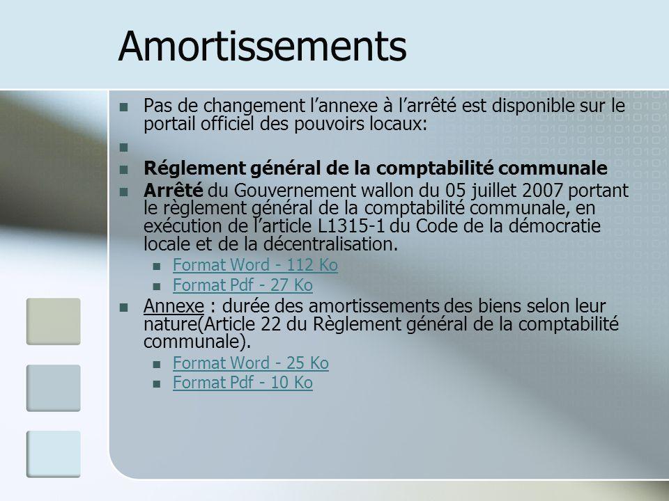 Amortissements Pas de changement lannexe à larrêté est disponible sur le portail officiel des pouvoirs locaux: Réglement général de la comptabilité co